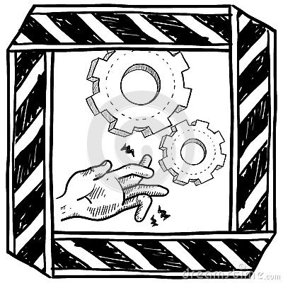 Dangerous machinery warning vector