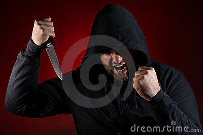 Dangerous man with knife