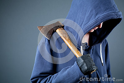 Dangerous person with an axe, thug