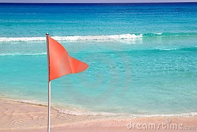 Dangerous red flag in beach  sea signal