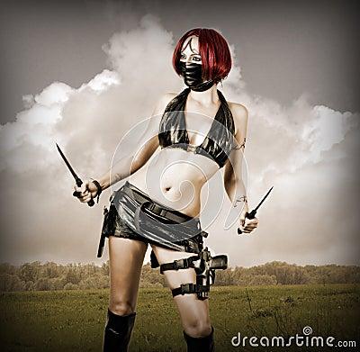 Free Dangerous Woman In Black Mask Royalty Free Stock Photo - 25991545