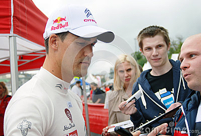 Dani Sordo gives autographs in Moscow Editorial Stock Image
