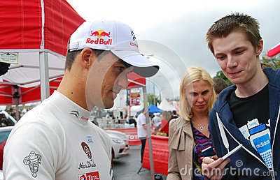 Dani Sordo gives autographs in Moscow Editorial Stock Photo