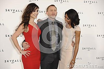 Daniel Craig, Naomie Harris, Berenice Marlohe, James Bond Editorial Stock Image