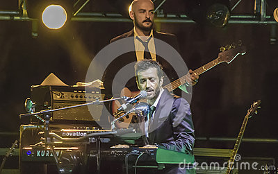 Daniele silvestri plays piano live on stage Editorial Stock Photo