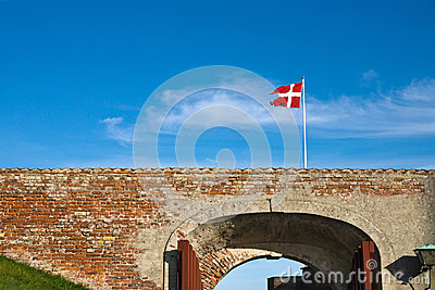 Danish flag at Helsingor Castle