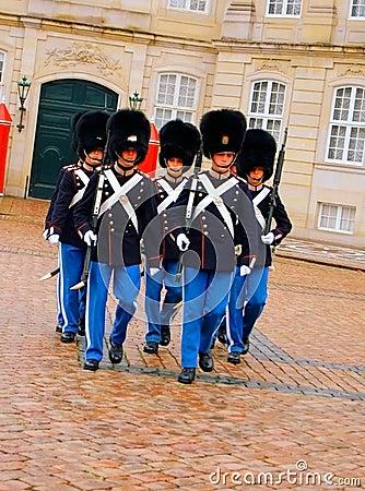 Danish guards in Copenhagen Editorial Stock Image