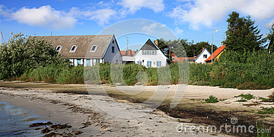 Danish  house on coastline in Snogebaek
