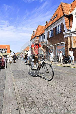 Danish man bicycling on street in Denmark Editorial Photo