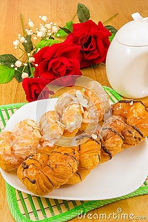 Danish pastry twist on tabletop