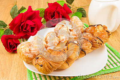 Danish pastry twist on tabletop