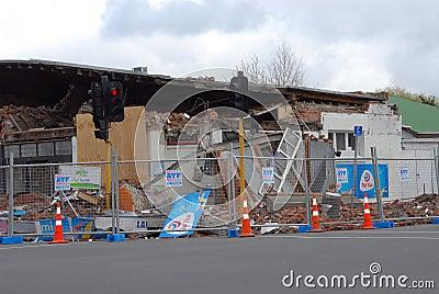 Danno di terremoto della Nuova Zelanda Fotografia Stock Editoriale