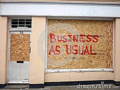 Dano às lojas em Greenwich Fotografia Editorial