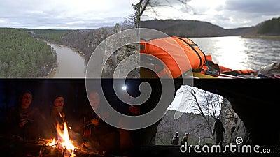 4 dans 1 : Groupe de déplacement de spéléologues Hausse, se reposant par le feu, explorant la caverne banque de vidéos