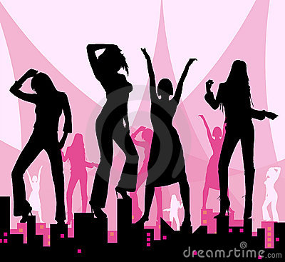 Dansende meisjes op stad
