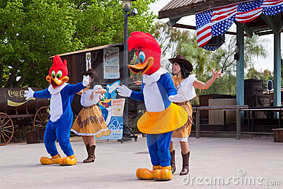 Dansers with woody performaning at theme Park Editorial Photo