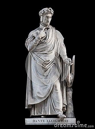 Free Dante Alighieri Statue, On Black Background Royalty Free Stock Image - 108392946