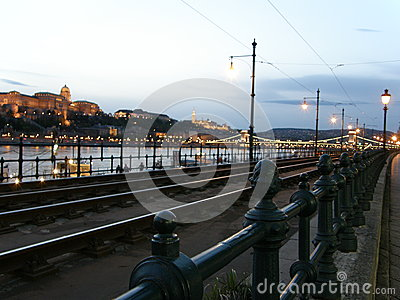 Danube quay and Buda hill skyline