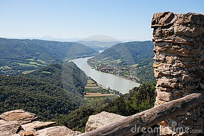 Danube valley view from medieval castle