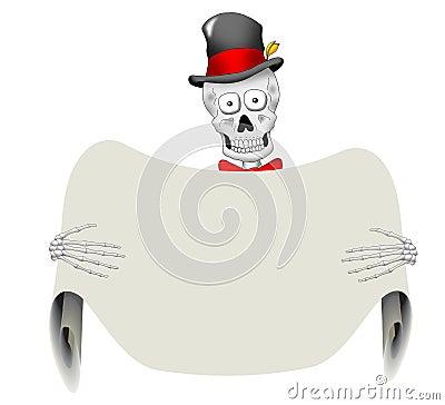 Dapper Skeleton with Blank Sign