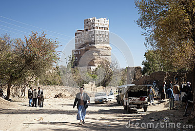 Dar al Hajar palace in Wadi Dhahr yemen Editorial Photography
