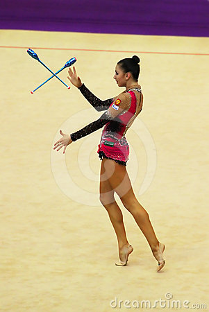 Daria Dmitrieva (Russia) performs at Deriugina Cup Editorial Photo