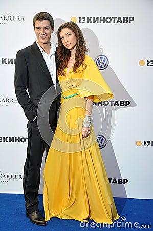 Daria Ekamasova with a partner Editorial Stock Photo