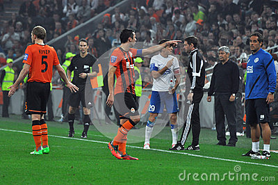 Dario Srna arguing with coach of Dnipro Editorial Stock Image