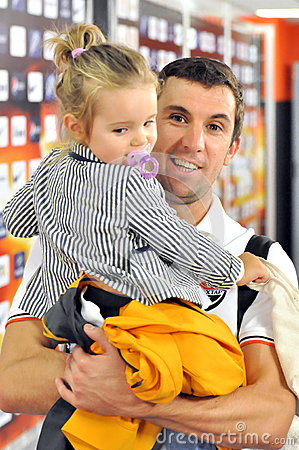 Dario Srna hold his daughter Editorial Stock Image