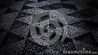 Dark Abstract Background Pixel Art 3D Illustration Stock Photo