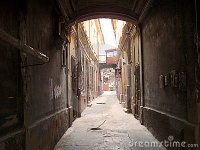 Dark alley in old city