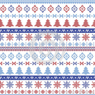 Free Dark And Light Blue And Red Christmas Nordic Pattern With Snowflakes, Trees ,  Xmas Trees And Decorative Ornaments In Scandinavian Royalty Free Stock Image - 59124986