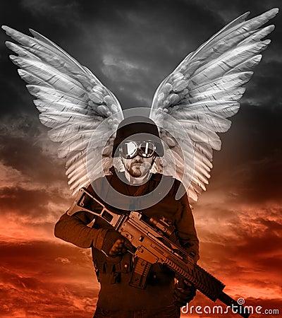 Dark angel with big wings