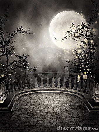 dark balcony with candles royalty free stock photo image