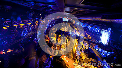 Dark bar in the underground night club Editorial Stock Photo