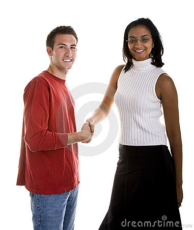 Dark Beauty Shaking Hand with Casual Man