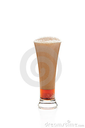 Dark beer with the foam in a glass