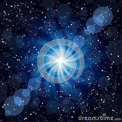 Dark blue background with big twirl Star.
