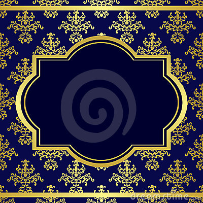 Dark blue background with center gold frame - eps