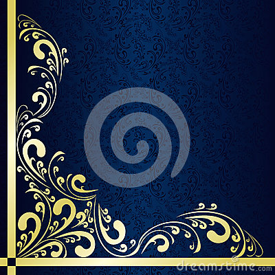 Free Dark Blue Background Decorated A Gold Border. Stock Images - 28842604