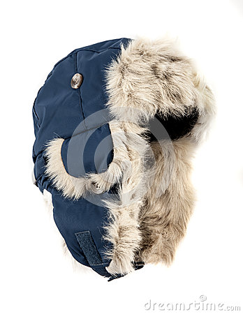 Dark blue children s fur cap