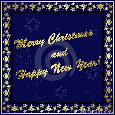 Dark blue christmas card with gold decor - eps