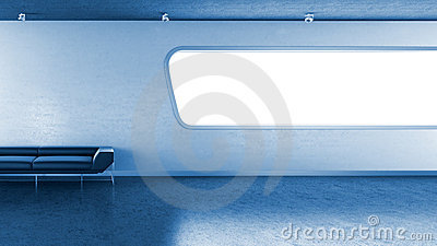 Dark blue couch in interrior wall window copyspace
