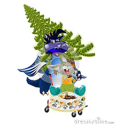 Dark blue dragon-New Year s a symbol of 2012
