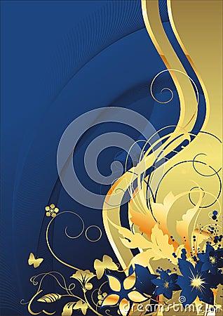 Dark blue flowers and gold butterflies
