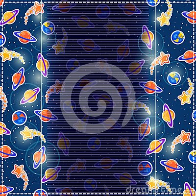 Dark Blue Invitation Card. Cosmic Background