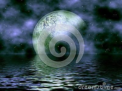 Dark Blue Moon & Water