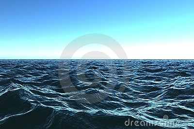 Dark blue ocean with beautifu