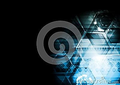 Dark blue technology vector background