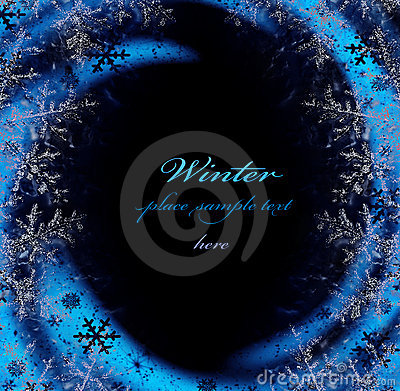 Dark blue winter decorative frame
